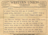 Telegram from Gov. Faubus to Upton