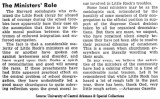 Editorial on Minister's Role...