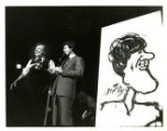 George Fisher and Bill Clinton with Caricature of Clinton