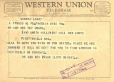 Telegram from Frank Lloyd Wright and Olgivanna Lloyd Wright to the Joneses